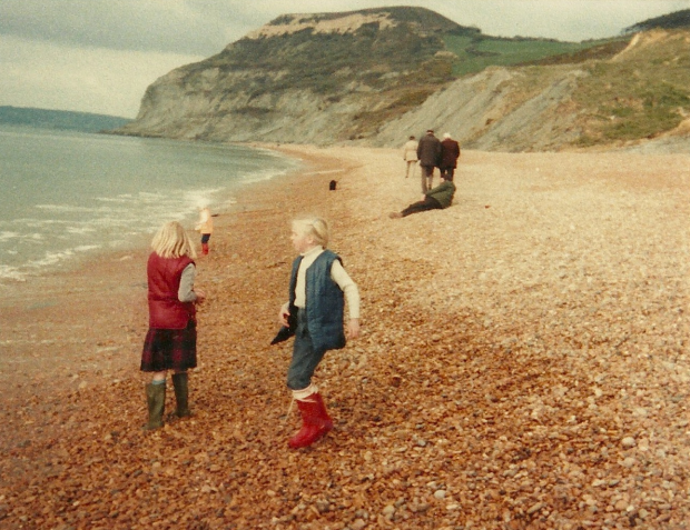 My sister and I on the pebbled beach below Golden Cap, 1983 ish